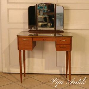Teak sminkebord med glasplade LL84xD41xH75 cm spejl 40 cm H