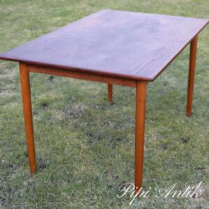 51 Teak spisebord med lysere ben patineret uden klap L124xB79,5xH73 cm