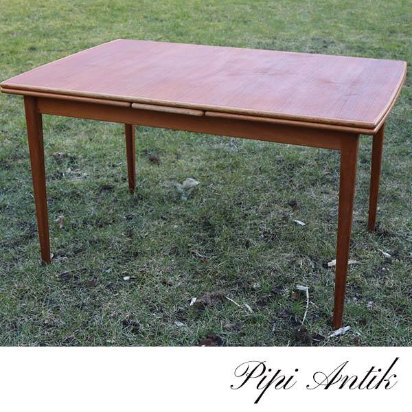 52 Teak spisebord med eg kanter L127xB83xH74 og hollandsk udtræk på 50 cm hver