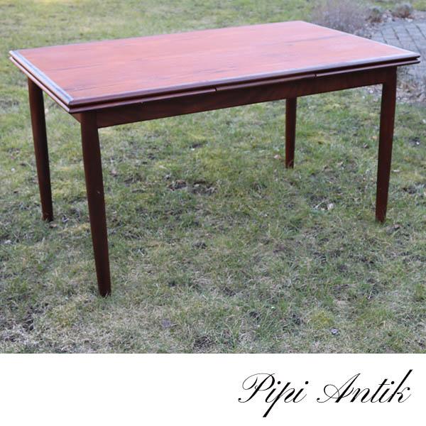 53 Teak spisebord med hollandsk udtræk mørkt 2 sort toner L140xB84xH76 cm og 50 cm udtræk hver