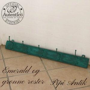 Emerald grønt og sort vokset knagerække L89xH8,5xD15 cm