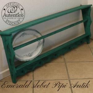 Emerald tallerkenrække med sort bund slebet L124xH48xD15 cm