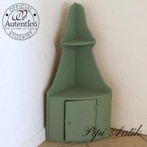 Hjørneskab med hylder og skab i Vert Olive Autentico kalkmaling B28xD22xH77 cm uden nøgle