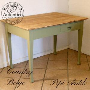 Country Beige køkkenbord med 2 skuffer modsat side L110xB75xH77,5 cm sæbebehandlet natur top