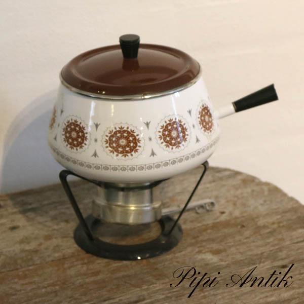 Retro fondue sæt hvidt med brune motiver Ø20x23 cm