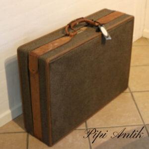 Retro stofkuffert med læderlukning stor L75x42,5x19 cm