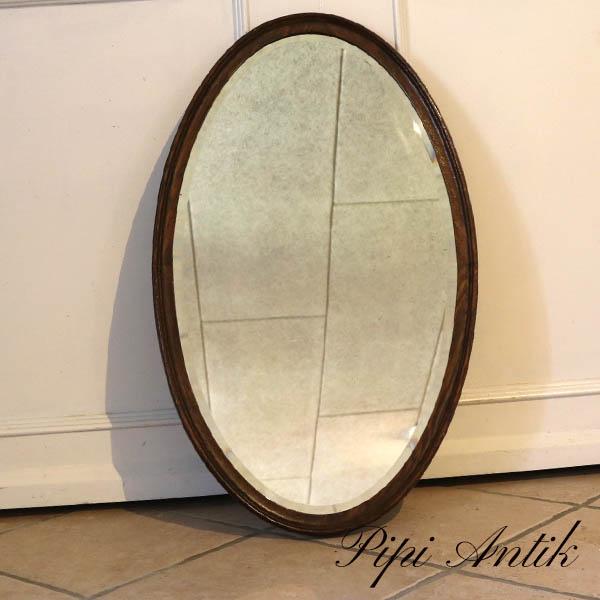 Ovalt facetslebet spejl mørke malet B47,5xH78,5xD3cm