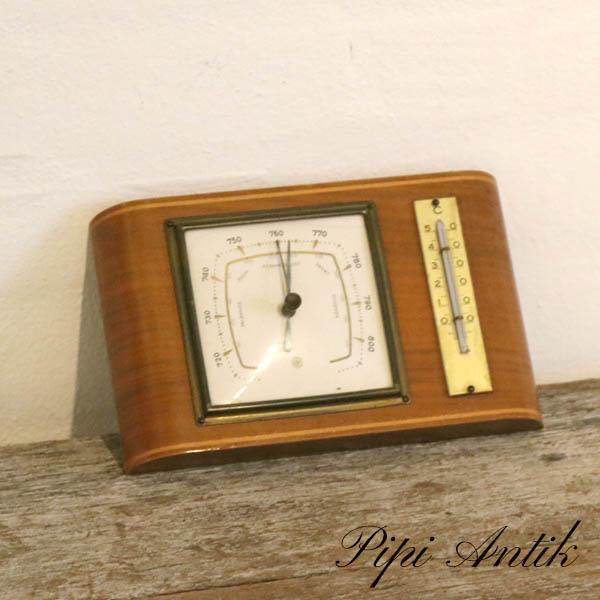 Teak vejrstation barometer temperaturL21xH13xD2,5cm