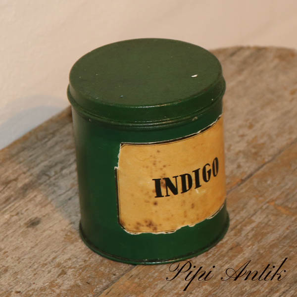Retro hjemmemalet Indigo grøn dåse Ø9,5xH11 cm