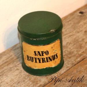 Retro hjemmemalet Sapo Butyrinus grøn dåse Ø9,5xH11 cm