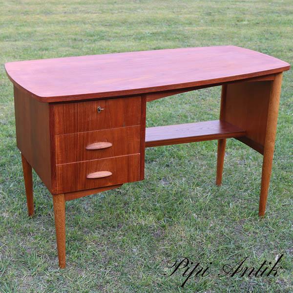 Teak retro skrivebord med hylde L114xB59xH73 cm