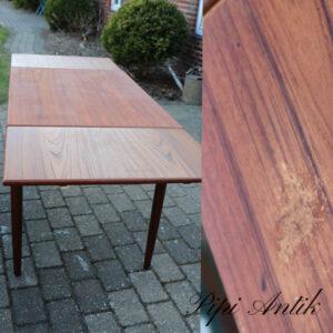 Teak spisebord med hollandsk udtræk med patiina til mini lejlighed L 100xB70xH75cm plus udtræk