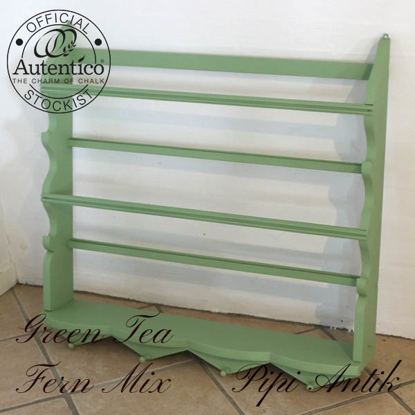 Lysegrøn tallerkenrække Green Tea rest med Fern mix L85xD15xH78 cm