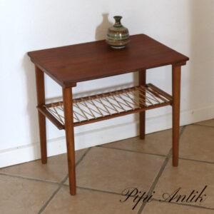 Teak sofabord mini med underhylde med plastssnor L51x36,5xH46,5 cm