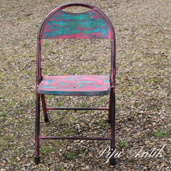 02 Metal stol grøn og pink B44xD39xH81 sædet 43 cm