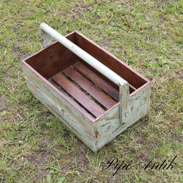 02 Værktøjskasse til haven i hårdt patineret træ L40,5xB26,5xH15 cm