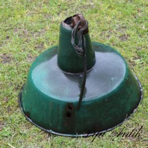 Patineret grøn idustrilampe Ø40xH29 cm til ny ledning