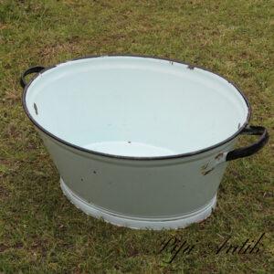 06 Pastel grøn emalje vaskebalje patineret L72xB50xH30 cm