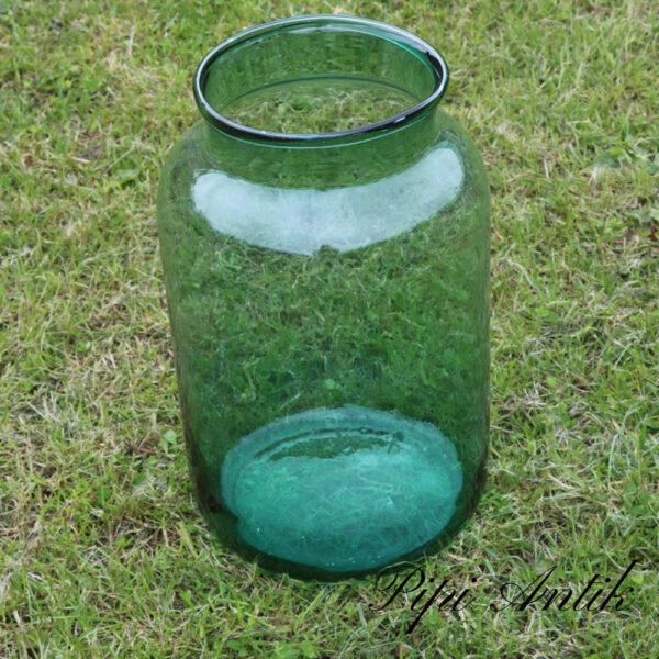 10 Glasvase høj grønt tykt med bobler i glasset Ø23xH38cm