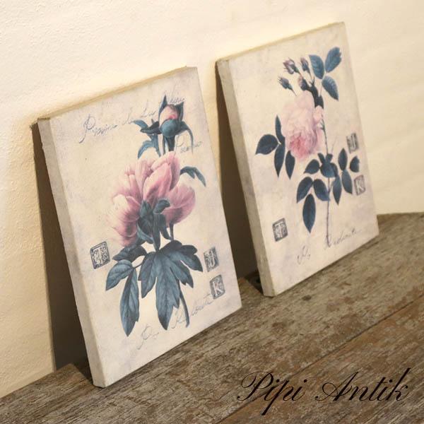 Romantiske rosebilleder par sarte toner B20,5xH25,5 cm nyere