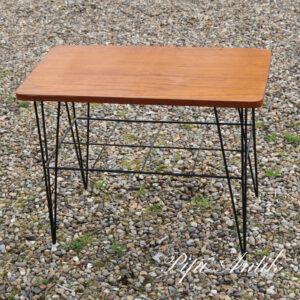 Retro teak avisbord sofabord med string sort L62x B32xH50 cm