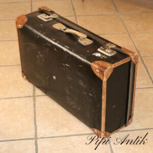 22 Sort papkuffert med læder kanter L70xD20xH40 cm