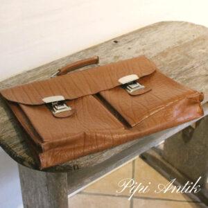 95 Retro skoletaske i læder brun L42xB31xD7cm