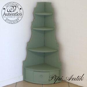 1800 tals hjørnehylde med skab Vert Olive Autentico kalkmaling B36xB36xH103 cm