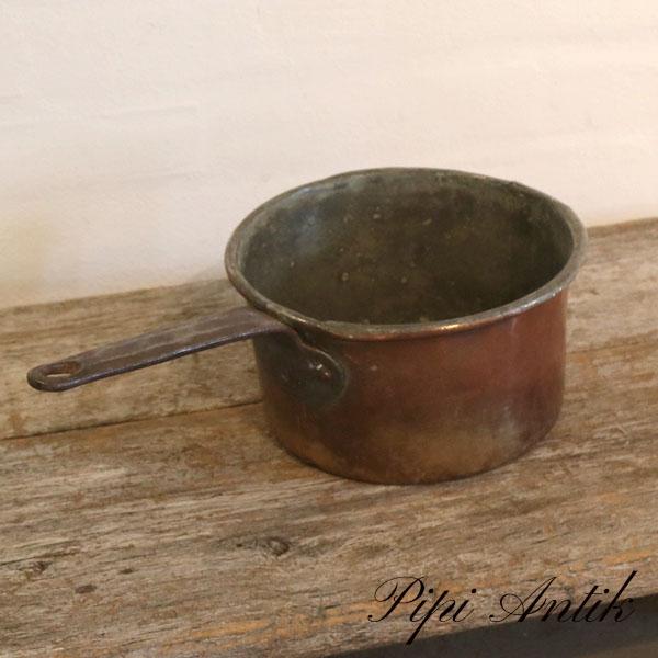Kobber gryde med hank kaserolle Ø18xH11 cm