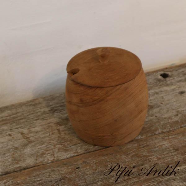33 Teak krukke med låg med glasindats Ø10xH13,5 cm
