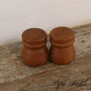 34 Teak salt & peber sæt retro Ø7,5xH8,5 cm