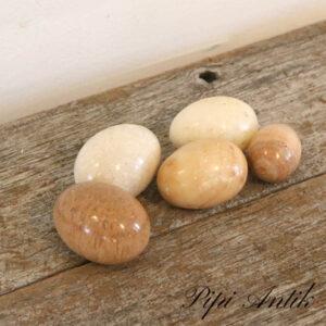 Marmor æg sæt af 5 stk hvid råhvid til beige