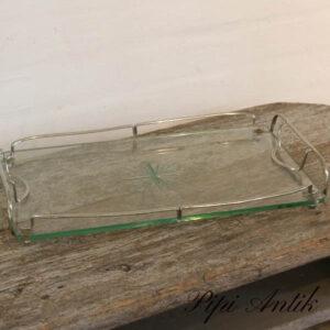 Glasbakke med stål kant retro L41xB25xH5 cm