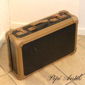 Kuffert med læderkanter sort brun L62,5xD17xH33,5 cm