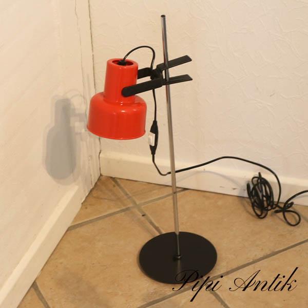 50 Rød retro bordlampe orange sort krom Ø18xH62 cm