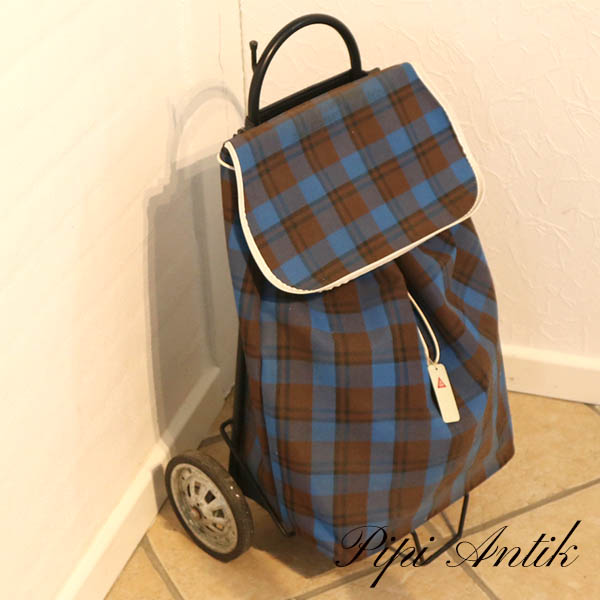 Retro indkøbtaske med stang blå sort ternet H43 cm D20 cm