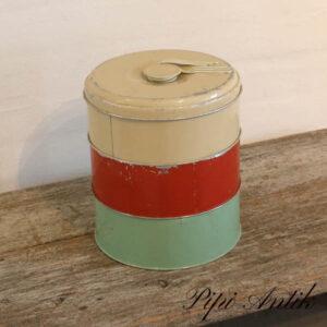 Retro kagedåse stable mintgrøn rød og beige 3 i en Ø20xH23 cm