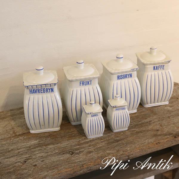 57 Krukkeserie i hvidt blåt 4 store og 2 små L11xB11xH19 cm små L6x6xH11 cm