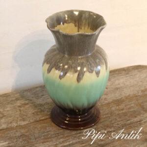 West Germany vase 515 Ø13,5xH28 cm pastelfarvet grøn gul og brune toner