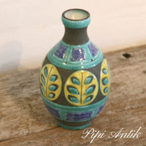 Retro keramikvase svensk tyrkis natur gul og Ø5 i tud xH18 cm