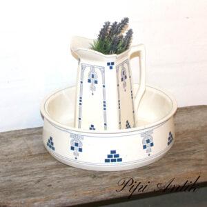 Servantesæt vask og firkantet kandet råhvid og blåt Ø35xH26,5cm
