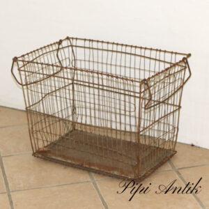 Metal kurv rust patineret med håndtag L60xB37xH45 cm