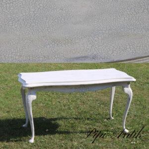 Krakkeleret råhvid sofabord med løvefødder L111xB59,5xH58cm