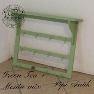 Hylde med nøgle knager Green Teax mix med Menta L66xH50xD14 cm