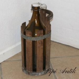 Ølflaske i træbetholder rundt Ø20xH43cm