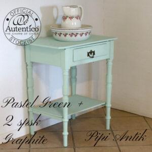 Pastel Green bord med hylde og skuffe til L68xD46xH78 cm