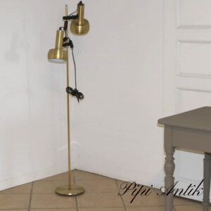 Retro guld messing look gulvlampe i rigtig god stand Ø23xH141 cm