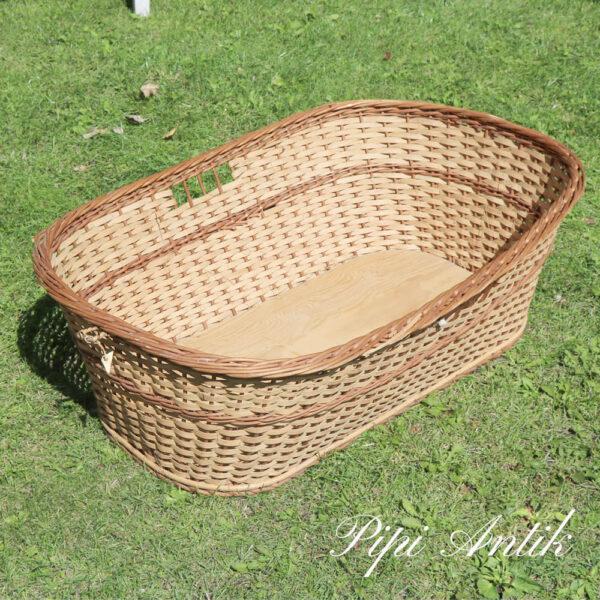 03 Vasketøjskurv flettet i 2 brune naturfarver L90xB61xH29cm