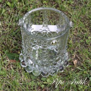10 Retro glas isspand med krom hank Ø12xH13 cm