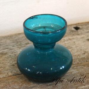 Antikt hyacint vase i glas tyrkis Ø11xH11 cm